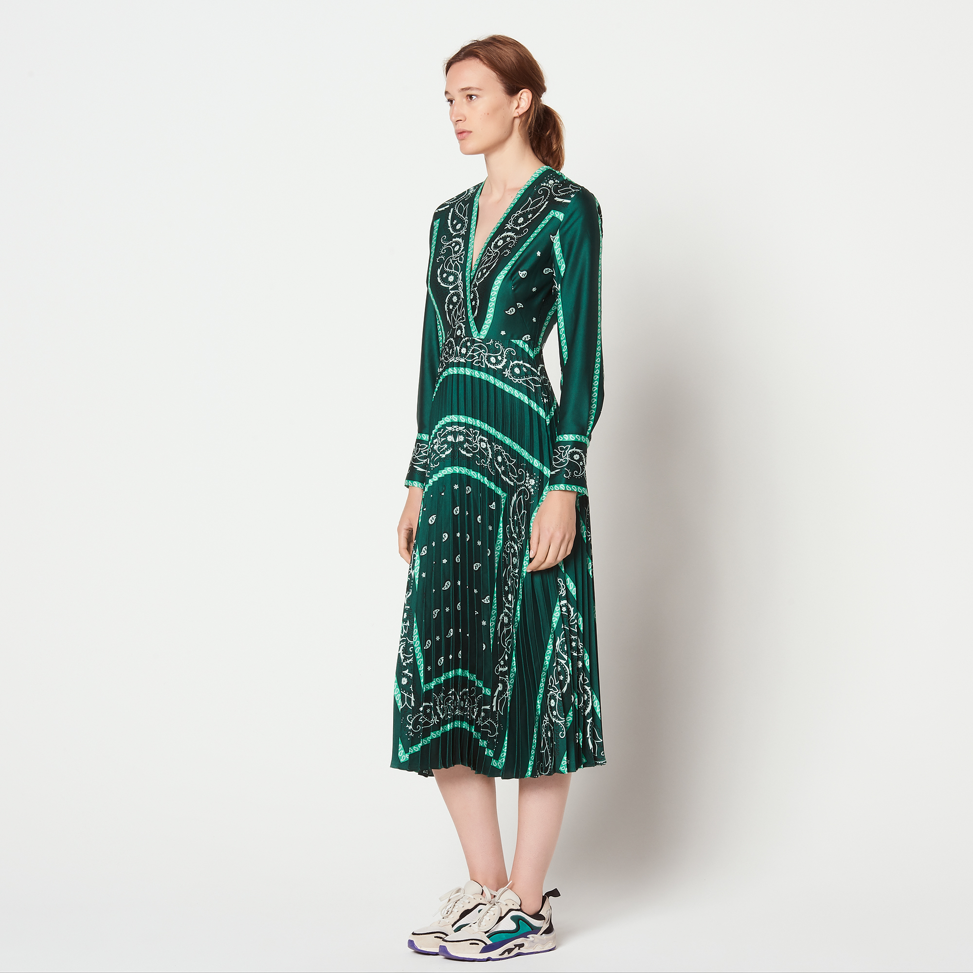 ... Long dress with scarf prints   Dresses color Green ... 2e206217f