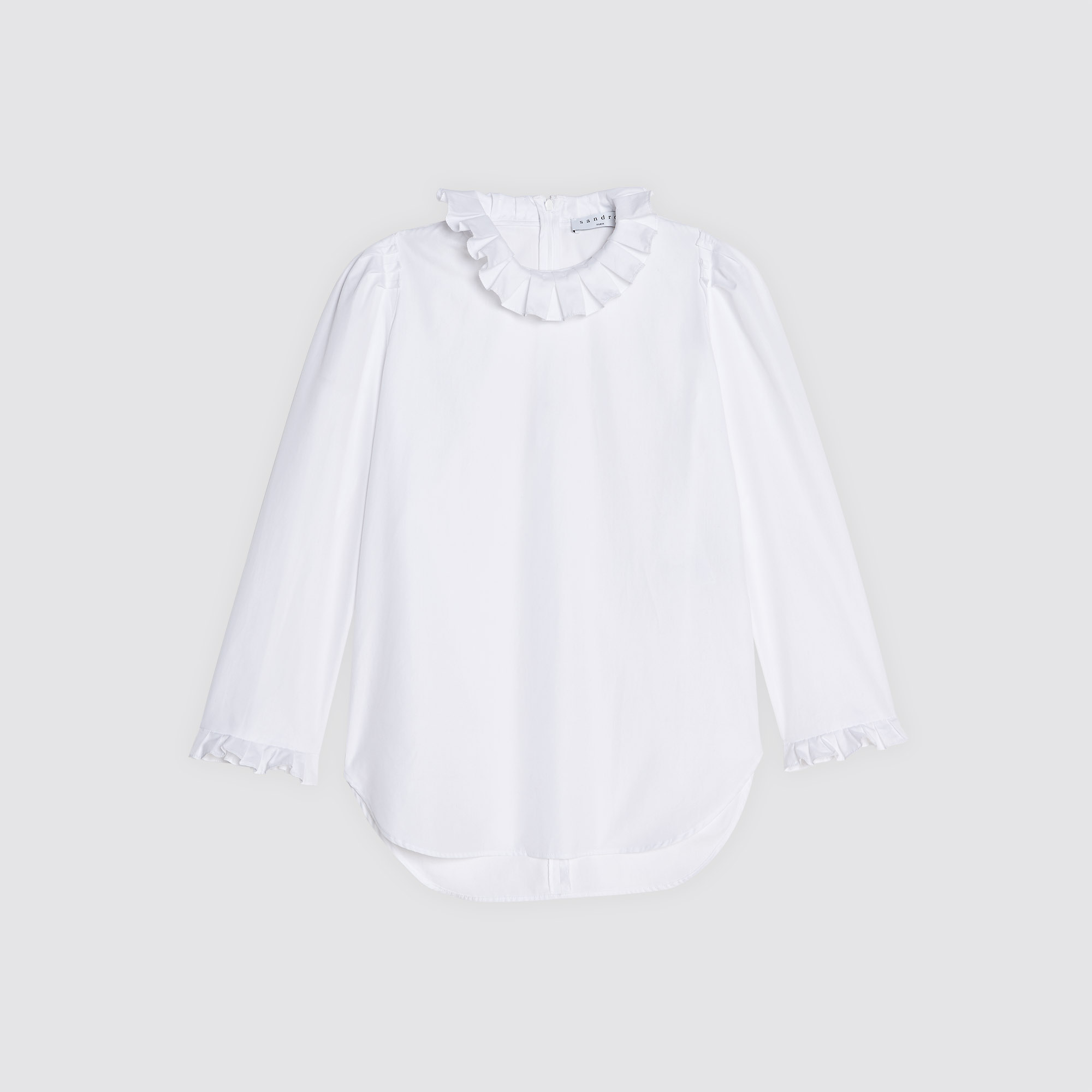 31c6e0b2cf77a2 ... Cotton top with high ruffled neck : Summer Collection color White