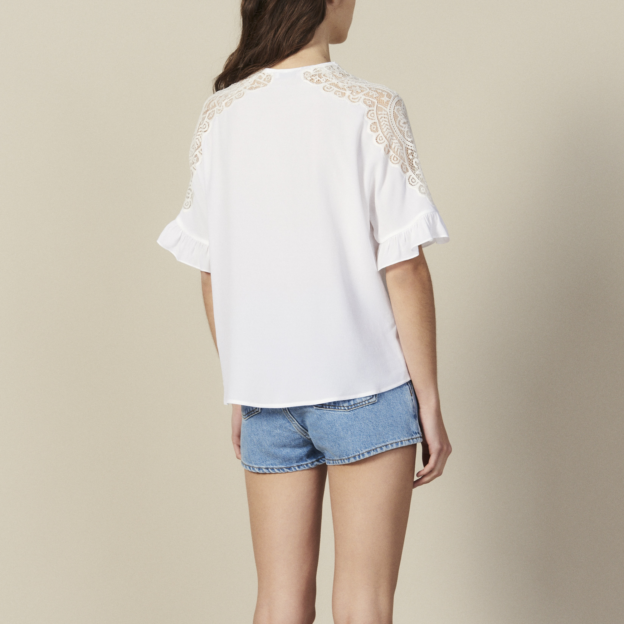 c2a437e2382 ... Top With Lace Insert : Tops & Shirts color white ...