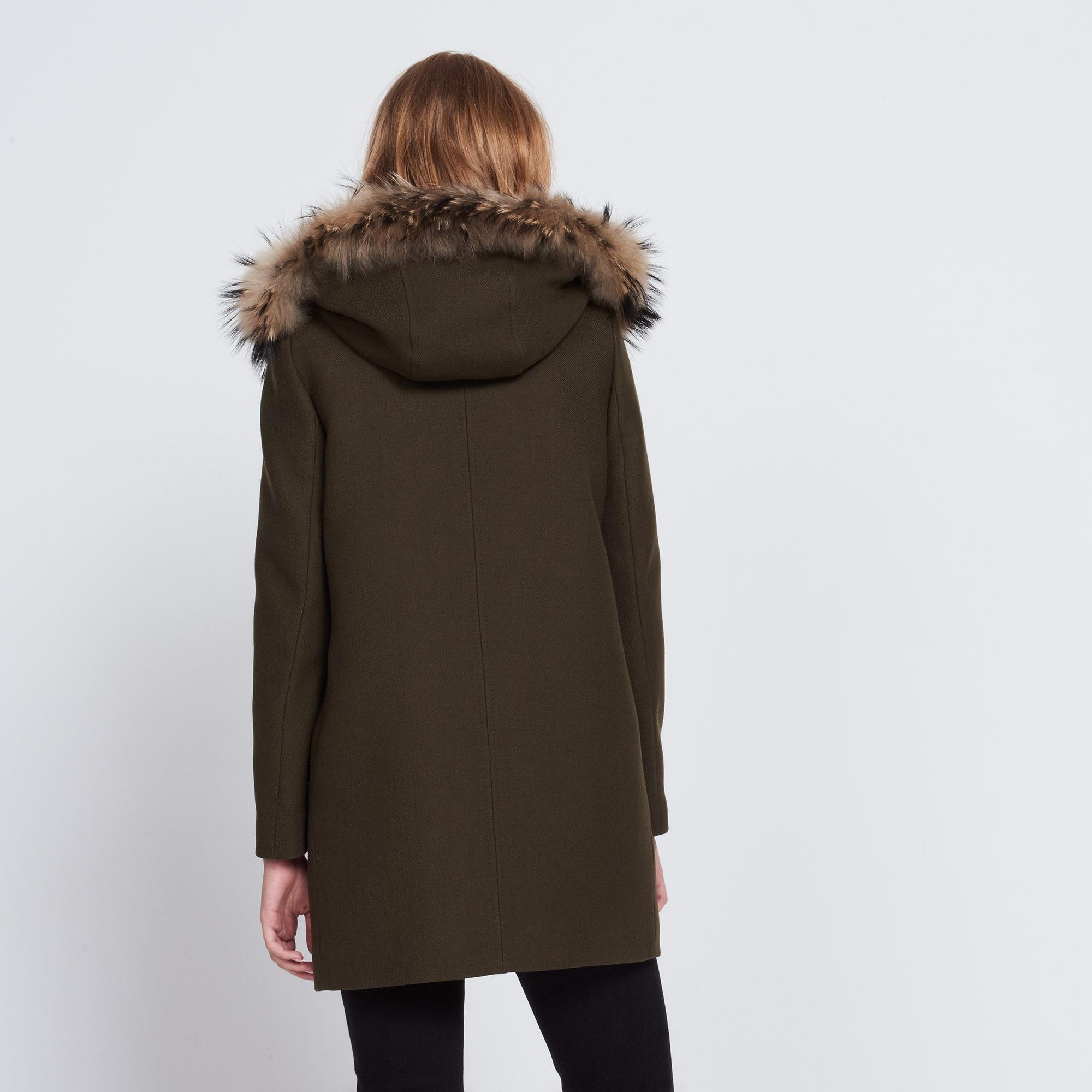 Woollen coat with fur hood - Coats - Sandro-paris.com