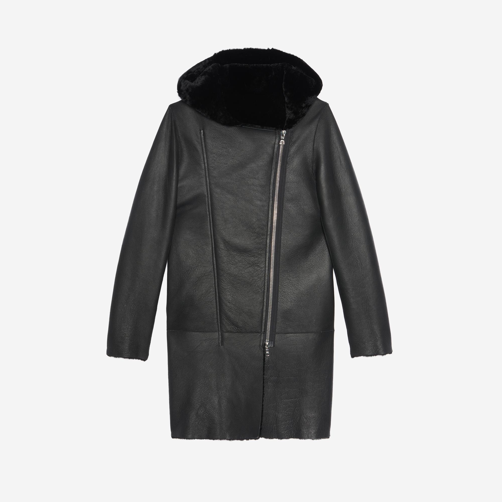 Sheepskin coat with hood - Coats - Sandro-paris.com
