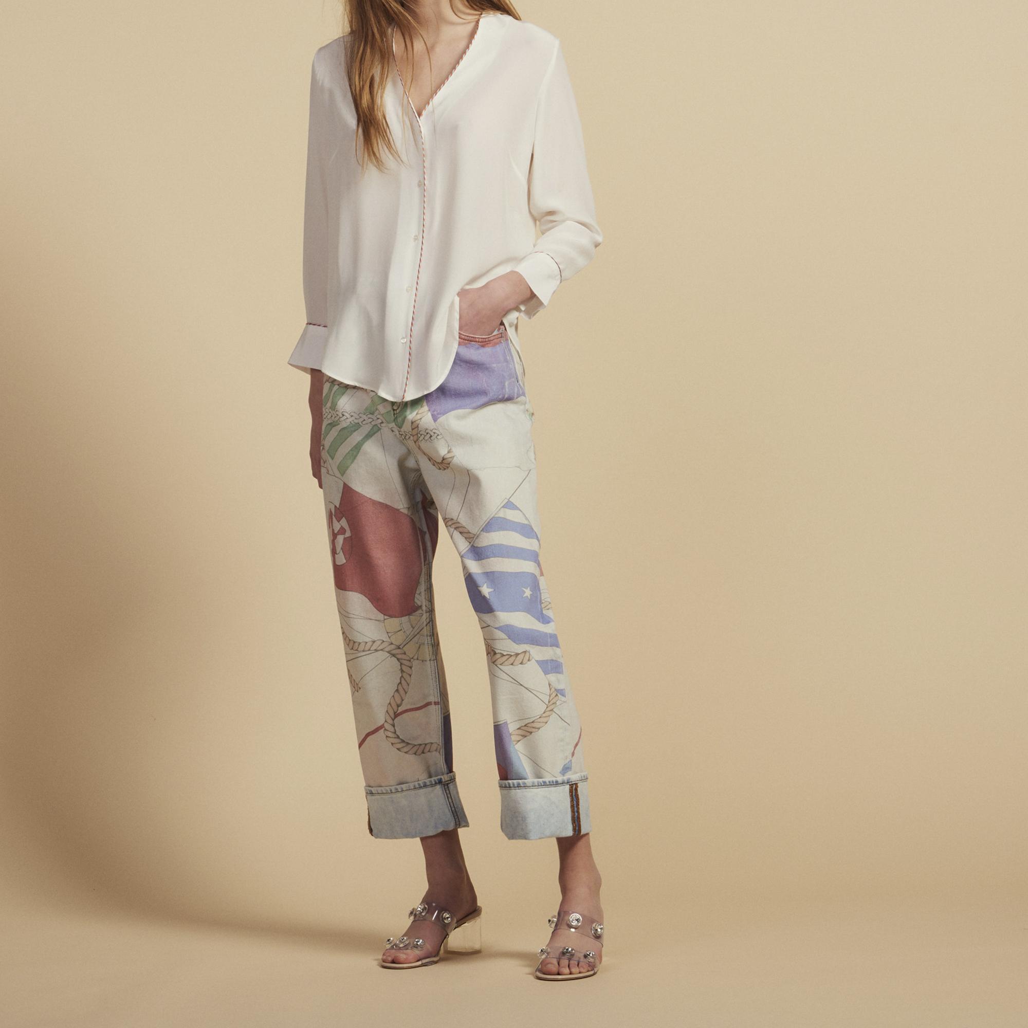 a89146ade4d8b Low-cut silk shirt   Tops   Shirts color Ecru ...