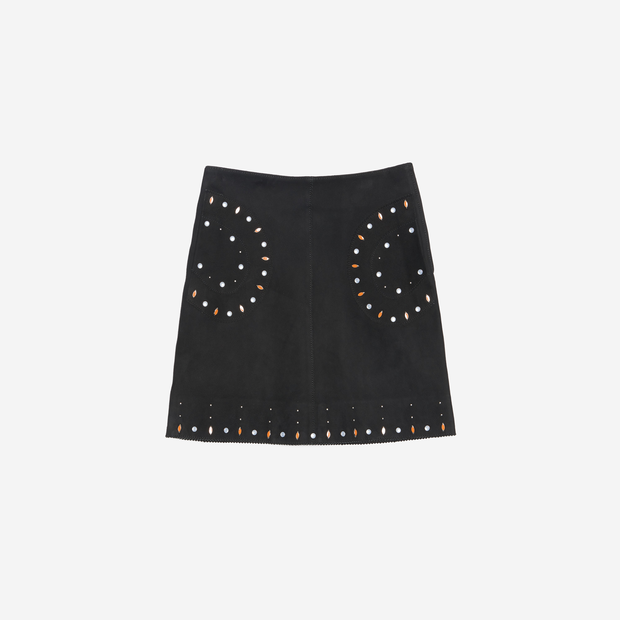 leather skirt with inlaid stones all selection