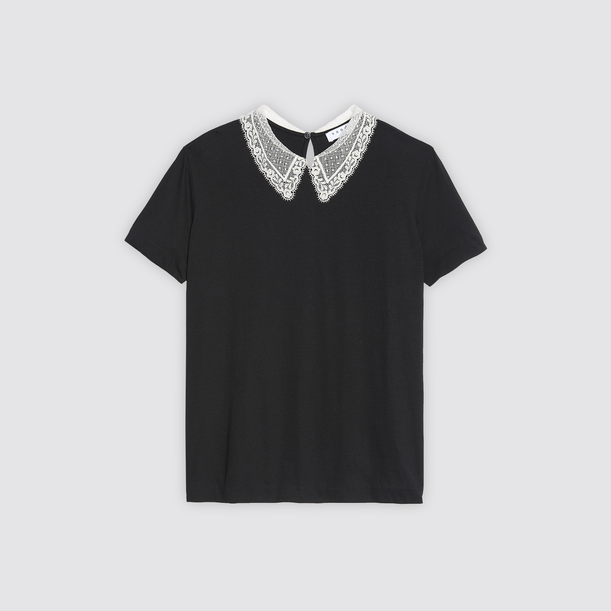 Black t shirt with white collar -  Cotton Blend T Shirt With Lace Collar T Shirts Sandro Paris