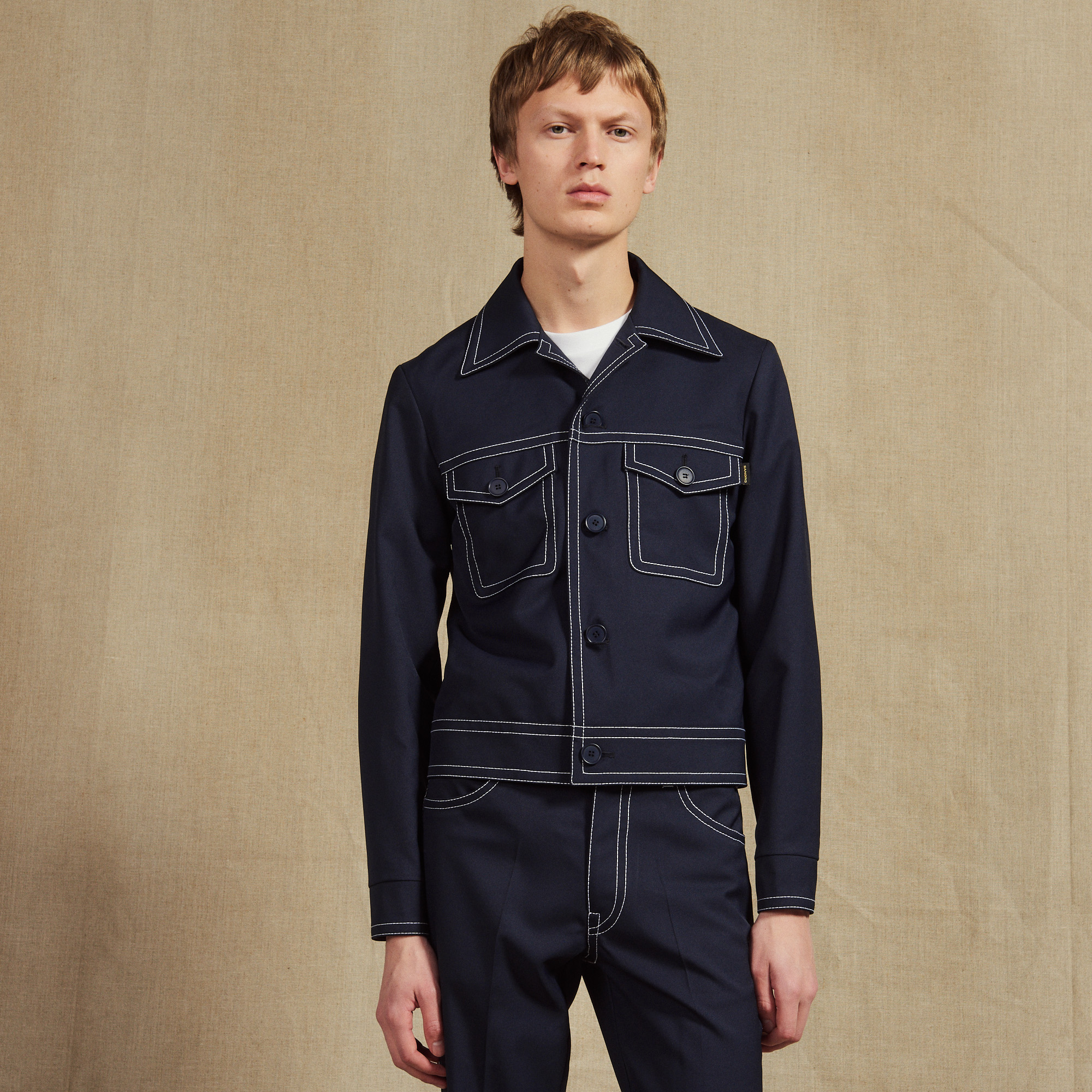 5021b18c49 Jacket With Contrasting Topstitching