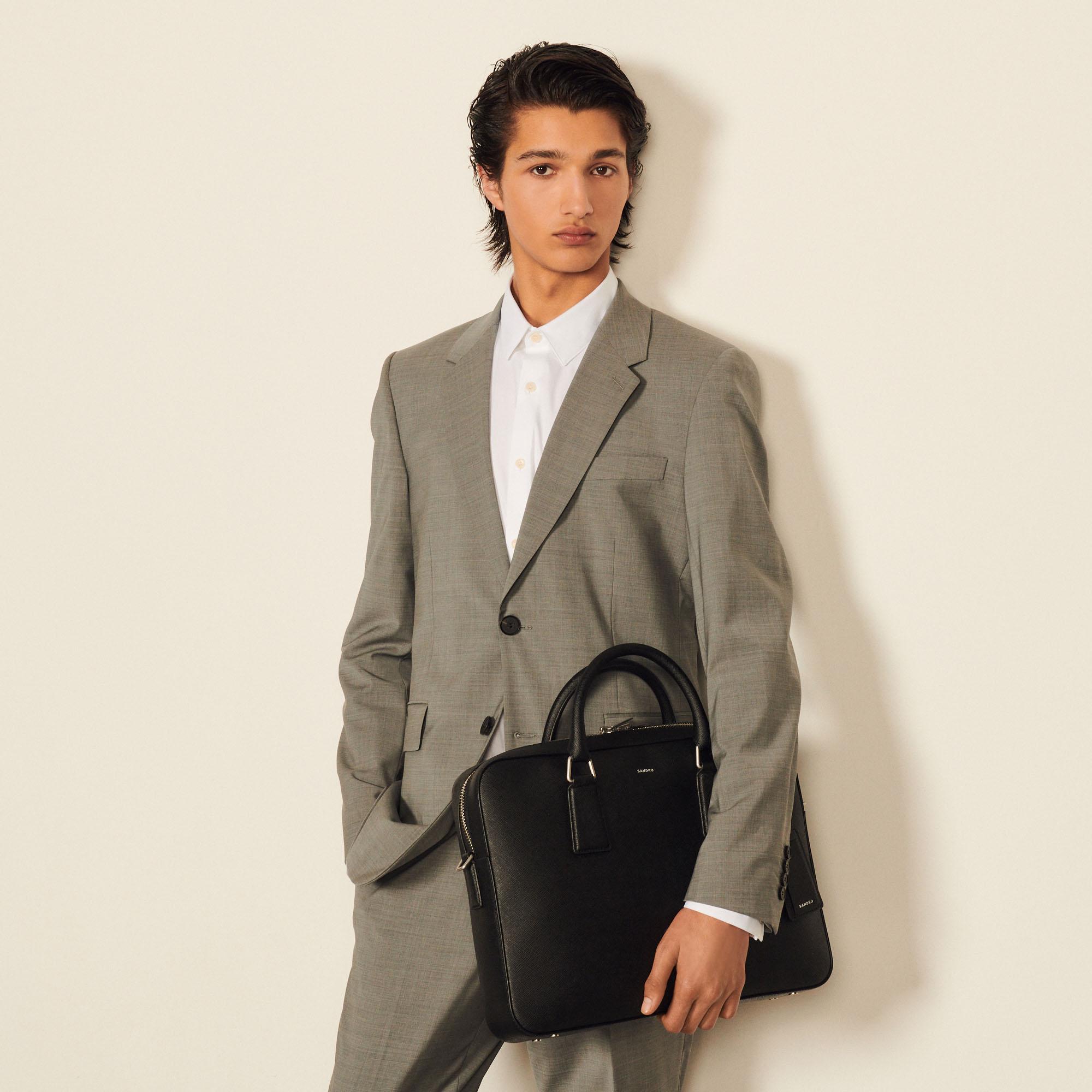 Leather briefcase - Sandro - Modalova