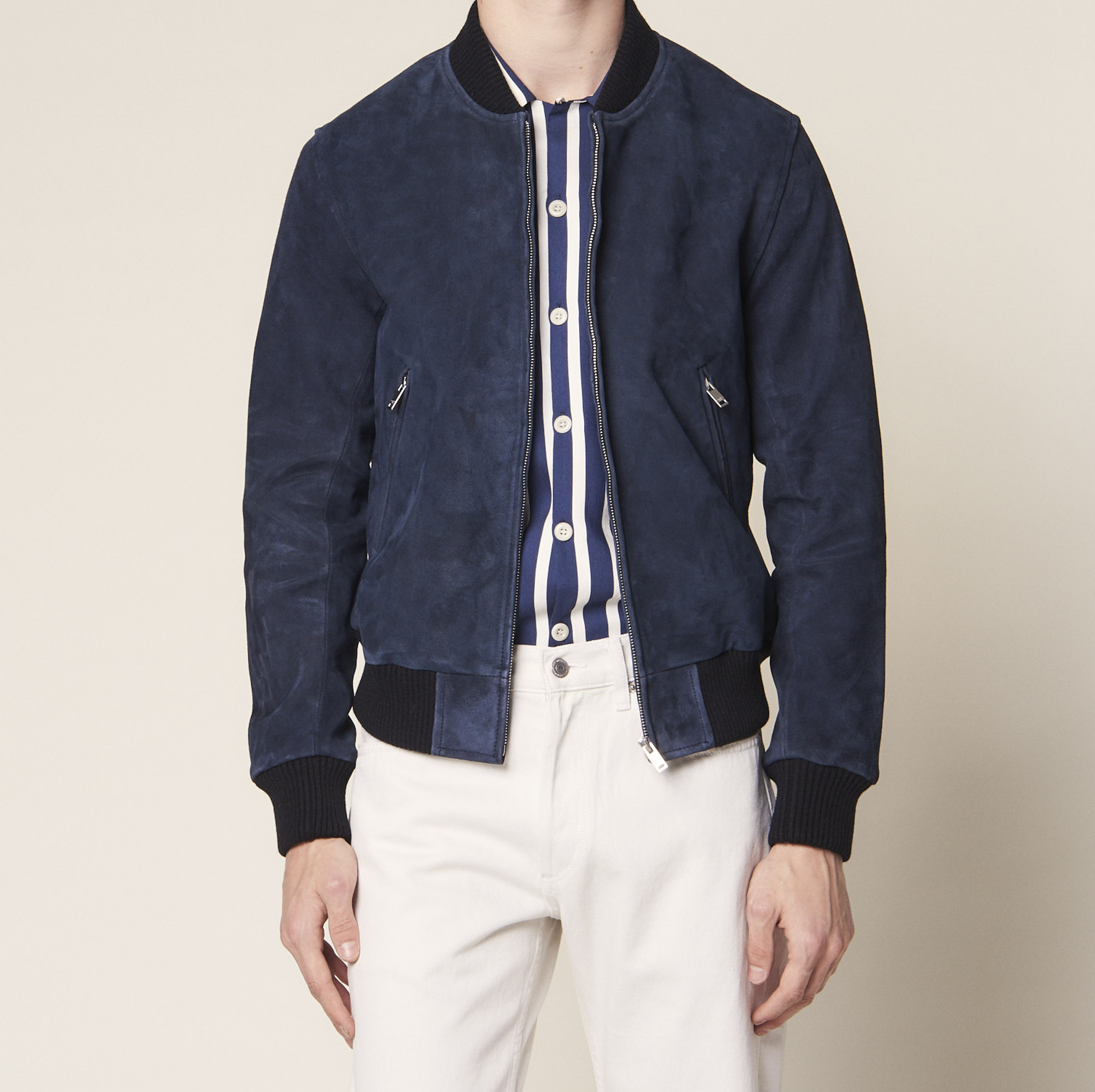 Suede bomber jacket - Leather Jackets - Sandro-paris.com
