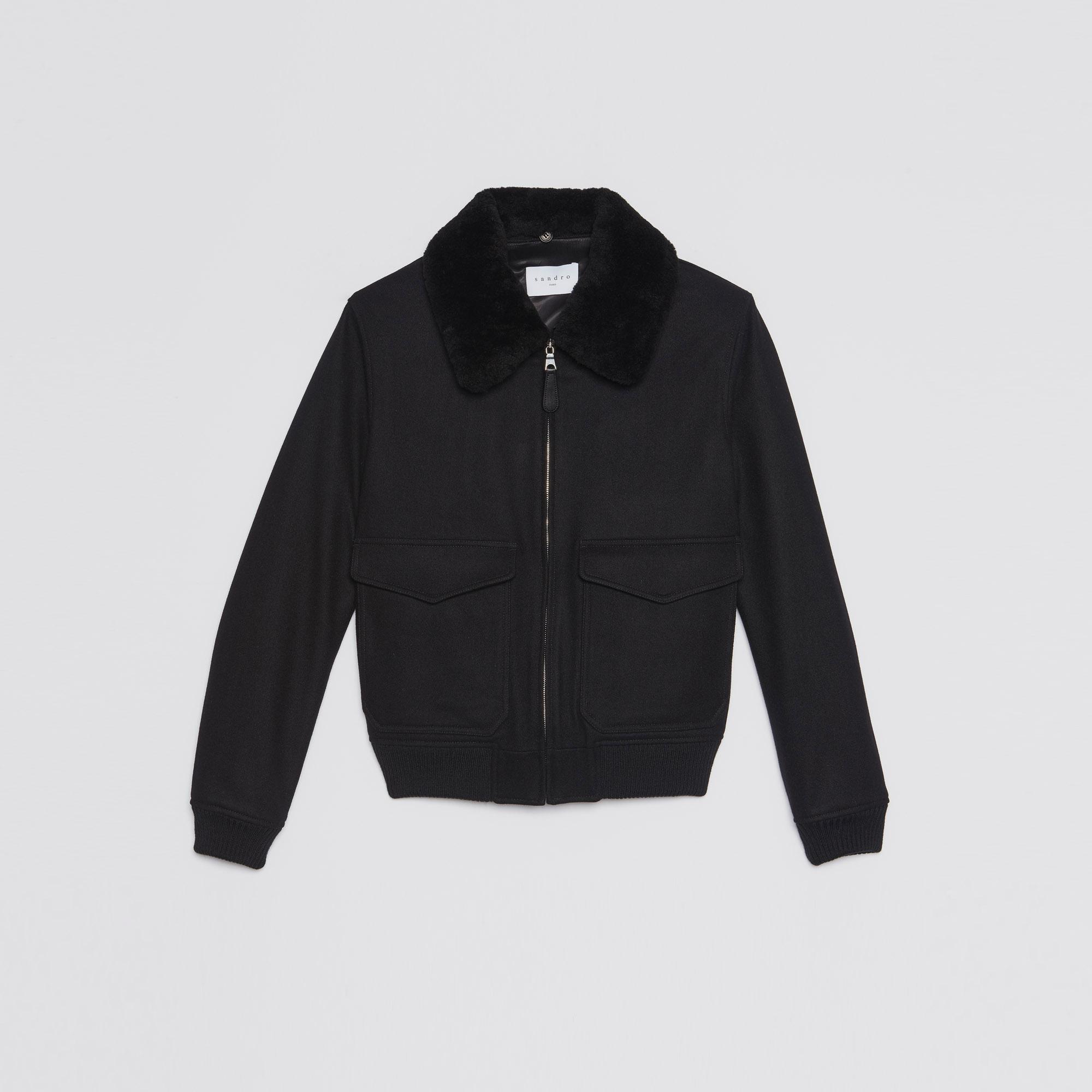 Aviator jacket with sheepskin collar - Blazers & Jackets - Sandro ...